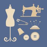 Atelier. Attributes for the studio on a blue background Stock Photos
