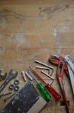 Atelier avec des outils pour le bricoleur Images stock