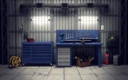 Atelier de garage rendu 3d Images libres de droits