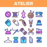 Atelier de mode et ensemble linéaire de couture d'icônes de vecteur illustration libre de droits