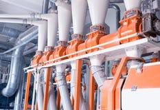 Atelier de production pour la production de la farine de nourriture, transformer du grain en farine, production moderne, industri photographie stock libre de droits