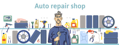 Atelier de réparations automatiques Mécanicien Man Holding une clé Illustration horizontale de vecteur pour l'en-tête du site Web illustration libre de droits