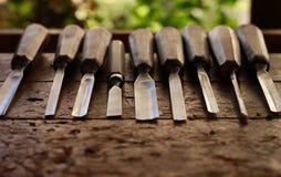 Atelier de travail du bois de menuiserie de vintage Images libres de droits