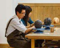 Atelier en céramique au château d'Okayama Photos stock
