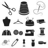 Atelier i szwalne czarne ikony w ustalonej kolekci dla projekta Wyposażenie i narzędzia dla szyć wektorowego symbol zaopatrujemy  Zdjęcia Stock