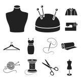 Atelier i szwalne czarne ikony w ustalonej kolekci dla projekta Wyposażenie i narzędzia dla szyć wektorowego symbol zaopatrujemy  Zdjęcie Royalty Free