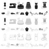Atelier i szwalne kreskówek ikony w ustalonej kolekci dla projekta Wyposażenie i narzędzia dla szyć wektorowego symbol zaopatruje ilustracji