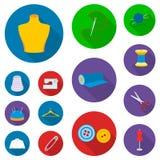 Atelier i szwalne płaskie ikony w ustalonej kolekci dla projekta Wyposażenie i narzędzia dla szyć wektorowego symbol zaopatrujemy Zdjęcia Royalty Free