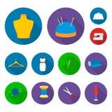 Atelier i szwalne płaskie ikony w ustalonej kolekci dla projekta Wyposażenie i narzędzia dla szyć wektorowego symbol zaopatrujemy Zdjęcie Stock