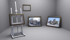 Atelier mit Winterabbildungen Stockfoto