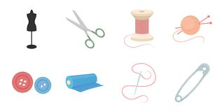 Atelier and sewing icons in set collection for design.   Royalty Free Stock Images