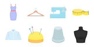 Atelier and sewing icons in set collection for design.  Stock Images