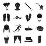 Atelier, sports, travel and other web icon in black style Royalty Free Stock Photography