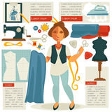 Atelier tailor or dressmaker designer profession woman vector flat template Royalty Free Stock Photography