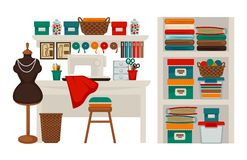 Atelier tailor or dressmaker modiste salon workplace vector flat icons set. Atelier tailor or dressmaker modiste salon or parlor workplace. Vector  flat icons of Royalty Free Stock Photography