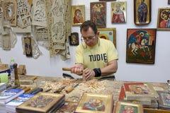 Atelier traditionnel des icônes bizantines par Dimitri Zervopoulos Image stock