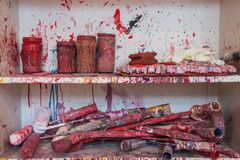 Atelier van de de kunststudio van het kleurenvuurwerk het slordige stock afbeeldingen
