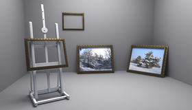 Atelier with winter pictures Stock Photo