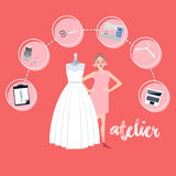 Atelier woman occupation bridal business textile icon flat style. Vector Royalty Free Stock Photo
