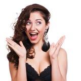 Atelieraufnahme der lustigen überraschten Frau lizenzfreie stockfotos