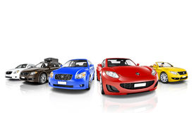 Atelieraufnahme von bunten Autos in Folge Stockfoto