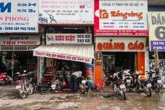 Ateliers de réparations colorés de motocyclette Photos stock