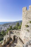 Atemberaubende Ansicht von den Wänden der Festung von Nafpaktos, Griechenland am 5. Januar 2018 lizenzfreie stockfotografie