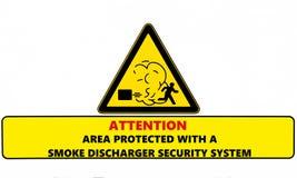 Atenção, área protegida com um sistema de segurança do descarregador do fumo Sinal de aviso ilustração stock