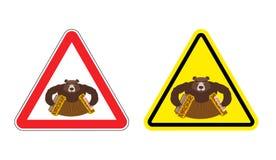 Atenção bebida sinal de aviso do turista do russo Sig amarelos dos perigos Foto de Stock Royalty Free