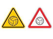 Atenção do voleibol do sinal de aviso Jogo amarelo do sinal dos perigos Bal Fotografia de Stock Royalty Free