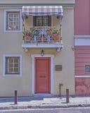 Aten Grekland, elegant hus i Plaka den gamla grannskapen Fotografering för Bildbyråer