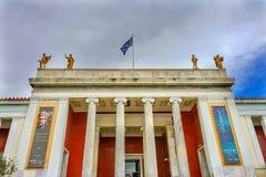 Aten Grekland för flagga för nationella arkeologiska museumstatyer grekisk arkivbild