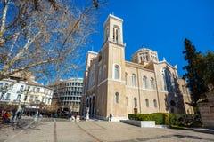 11 03 2018 Aten, Grekland - huvudsakligt kristet ortodoxt storstads- Royaltyfri Fotografi