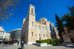11 03 2018 Aten, Grekland - huvudsakligt kristet ortodoxt storstads- Arkivfoto