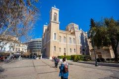 11 03 2018 Aten, Grekland - huvudsakligt kristet ortodoxt storstads- Royaltyfri Bild