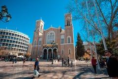 11 03 2018 Aten, Grekland - huvudsakligt kristet ortodoxt storstads- Arkivbilder
