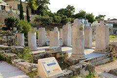 ATEN GREKLAND - JULI 18, 2018: Rest av Roman Agora, Athe royaltyfria bilder
