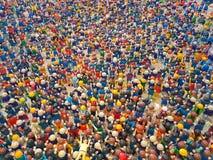 Aten Grekland 19 mars 2017 Hundratals playmobils i en utställning av leken Royaltyfria Bilder