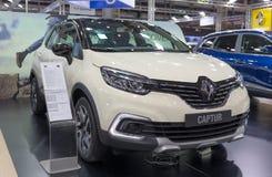 ATEN GREKLAND - NOVEMBER 14, 2017: Renault Captur på Aftokinisi-Fisikon 2017 den motoriska showen arkivbilder