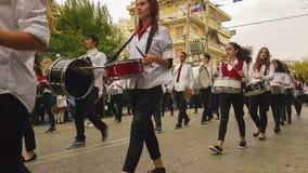 Aten Grekland, 28 Oktober 2016 Studentskolan ståtar för att fira den nationella ferien av den Ochi dagen lager videofilmer