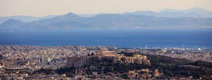 Aten Grekland - panoramautsikt av akropolen Arkivbilder