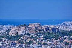 Aten Grekland, Parthenon på akropolkullen över Plaka Arkivfoton
