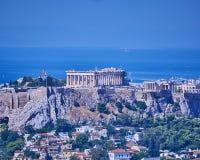 Aten Grekland, Parthenon på akropolkullen över Plaka Royaltyfri Foto