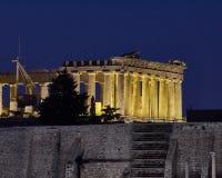 Aten Grekland, Parthenon på akropolkullen, nattsikt Royaltyfri Bild