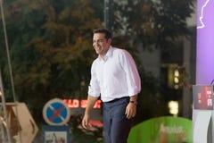 Aten Grekland 18 September 2015 Alexis Tsipras som ger hans sista offentliga anförande för de kommande valen i Grekland Royaltyfria Foton