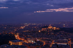 Aten på skymning - Parthenon, akropol, grekisk parlament Arkivfoto
