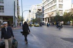 Aten - trafik arkivfoton