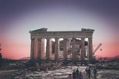 Atenas en color color de rosa Foto de archivo libre de regalías
