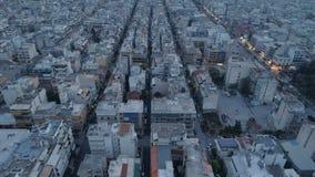 Atenas en la oscuridad, visión aérea almacen de metraje de vídeo