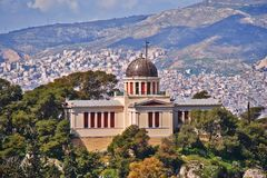 Atenas Grécia, a construção neoclássico do obervatório nacional velho Imagens de Stock